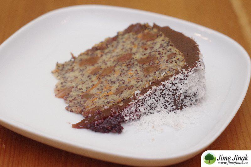 zasněžený dort řez